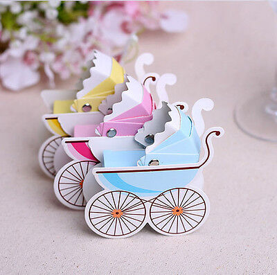 1/10/50/100 Wedding Favour Birthday Party Baby Shower Carriage Gift Candy Boxes