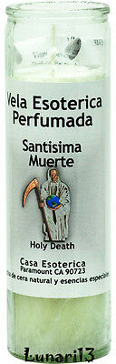 Holy Death, Santisima Muerte, 7 Day Candle, White, Palm Oil Wax Scented Lunari13