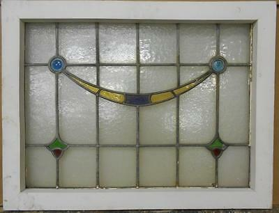 """MID SIZED OLD ENGLISH LEADED STAINED GLASS WINDOW Drape Design 27"""" x 20.75"""""""