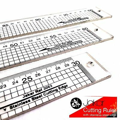 Clear Acrylic Cutting Ruler Stainless Steel Edge Transparent Rule Gide Lines Cut