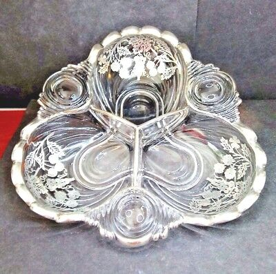 Vintage RARE Cambridge Caprice 3 Divided Relish Dish w/ STERLING Silver Fruit
