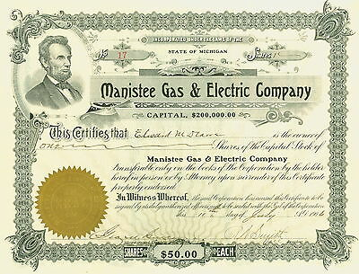 1906 Michigan Stock Certificate - Manistee Gas & Electric Company