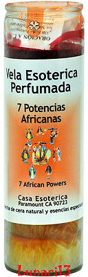 7 African Powers, 7 Colors, 7 Day Candle, Palm Oil Wax, Scented, Lunari13, Wicca