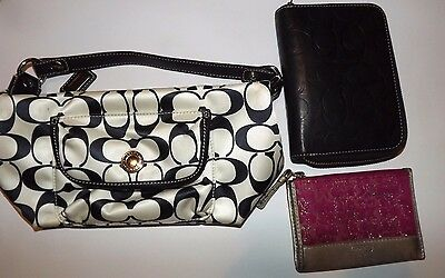 Coach Mixed Lot 3 Piece Small Signature Purse Change Purse Leather Wallet