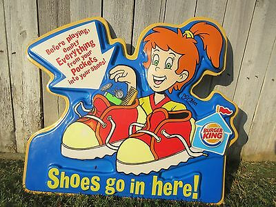 RARE Burger King Kids Club Restaurant Sign Shoes Kids Bedroom Decor Playroom VTG