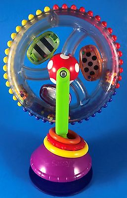 "7"" SASSY SPINNING WHEEL RATTLE BEADS BABY TOY SUCTION CUP for HIGHCHAIR STROLLER"