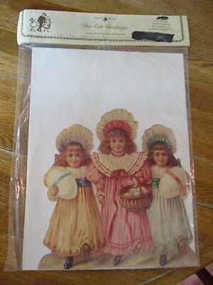 """Victorian Die-Cut Easter Easel Card,""""three Little Girls"""" Old Print Factory, New"""