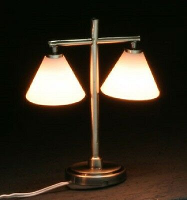 Dollhouse Miniature Table Lamp - MH45154 - MODERN TABLE LAMP WITH 2 DOWN SHADES
