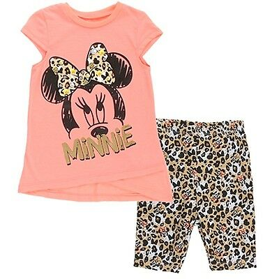 Disney Little Girls Coral Minnie Mouse Bow Pattern Top 2 Pc Pant Set 2-4T