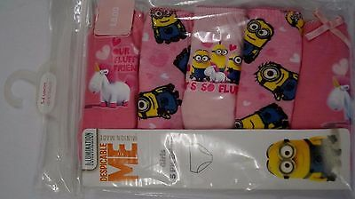 MINIONS Girl's Briefs 5-pack Pants Underwear 100% cotton Knickers 3-4 years
