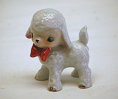 Old Vintage Ceramic Baby Lamb w Red Bow Tie Figurine Shadowbox Shelf Japan MCM