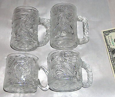 4 SET 1995 DC Comics McDonald's BATMAN FOREVER Robin Riddler Two Face Cup Mug