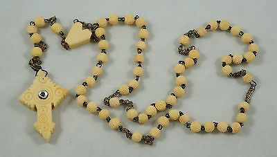 Vintage cow bone rosary, w. Stanhope Viewer & heart connector - St Anne Beaupre
