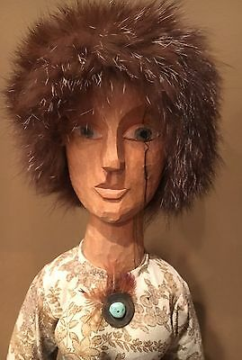 Large, Folk Art Wood Carving Doll. Hand Carved By E. Paxson. Very Nice. Obsolete