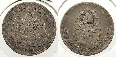 MEXICO: Hermosillo 1884-Ho M 25 Centavos #WC60862