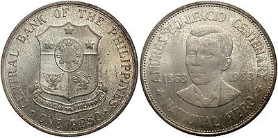 PHILIPPINES: 1963 1 Peso 100th Anniversary Birth of Andres Bonifacio #WC70785