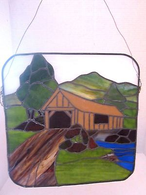 "Stained Glass Panel COUNTRY COVERED BRIDGE SCENE 12"" x 12"". HANGING."