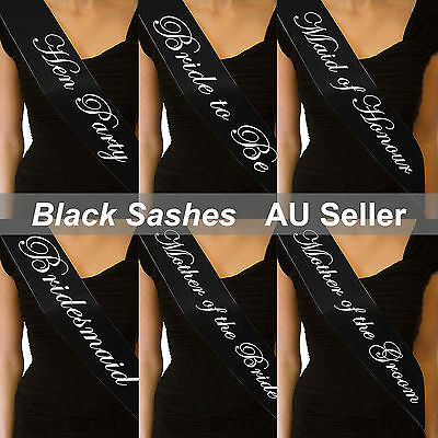 Black Sashes White Text Hens Night Party Bridal Bride To Be Bridesmaid Wedding