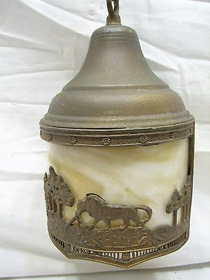 Vintage Slag Glass Chandelier Porch Lamp Light Hanging Ornate Lion House