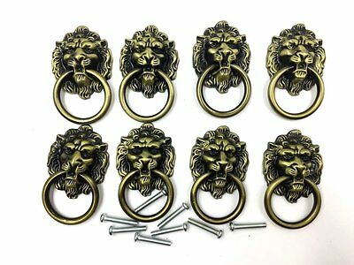 Dresser Drawer Cabinet Door Ring Lion Head Pull Handle Knob 8pcs C