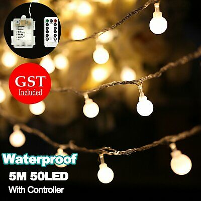 5M 50LED waterproof Battery Operated Ball String Fairy Lights Controller Wedding