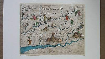 1612 Map Herefordshire, Michael Drayton 1st edition From POLY-OLBION.  Original