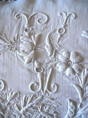 2 Pillows  Linen Monogram French  Antique 19Th-Century Crochet Lace