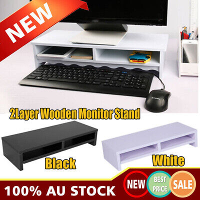 2-Layer Wooden Monitor Stand LCD Computer Monitor Riser Desktop Display Bracket