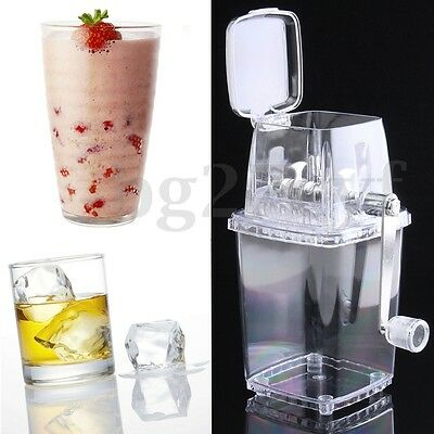 Portable Manual Ice Shaver Shredding Machine Crusher Snow Cone Maker Transparent