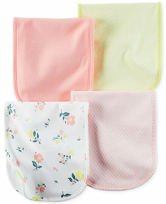 Carter's Baby Girls' 4-Pack Little Blooms Burp Cloths Flowers Pink $24 NWT New