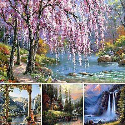 Fancy Wall Art Oil Painting On Canvas Stream Landscape Paintings Home Decor UK