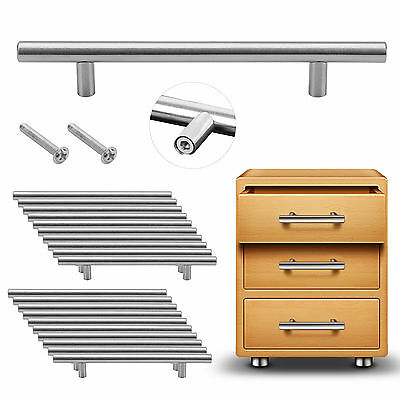 20PCS Satin Brushed Steel T Bar Handles Kitchen Door Furniture Cupboard/Drawer