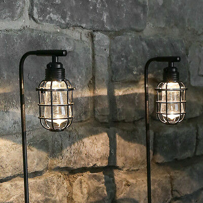 Set Of 2 Outdoor Garden Path Border Solar Powered Vintage Cage 80Cm Stake Lights