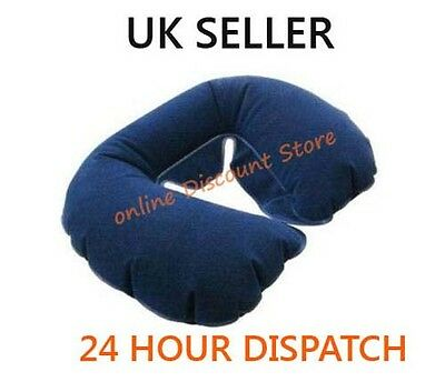 Inflatable Neck Rest Travel Pillow Head Rest Sleep Cushion Support Flock Lined