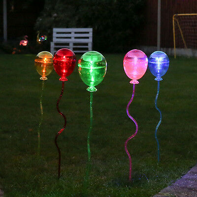 5 Solar Powered Outdoor Garden Yard Lawn Flowerbed Balloon 60Cm Stake Led Lights