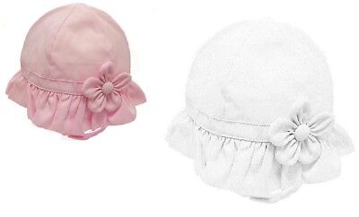 Baby Girls French Cloche Hat with Flower in Pink or White 6-12 12-18m