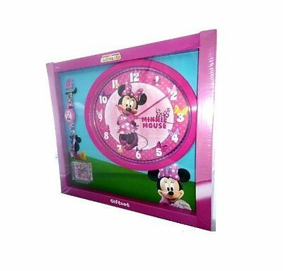 Disney Mickey Mouse Clubhouse Wrist Watch Wall Alarm Clock Minnie Mouse Gift Set