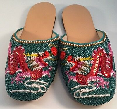 Chinese Slipper Shoes Blue Red Pink Yellow White Womens Beaded Dragon Size 4