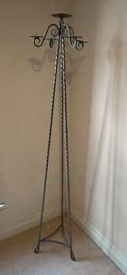 Antique Tall Metal Floor Standing Candlebra Sconce Candle Holder Stick