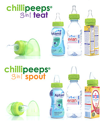 2X Chillipeeps 3 in 1 Teat / Spout For Water Juice Milk Bottles And Carton