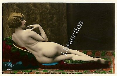 RECLINING NUDE WOMAN / LIEGENDE NACKTE * Vintage 20s Tinted Risque Photo PC #2