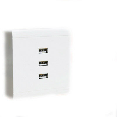 Three USB Ports Wall Socket Prise Charger Electric Outlet Panel 220V to 5V TP