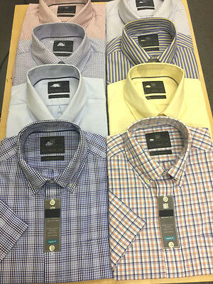 Ex M&s Pure Cotton Easy To Iron Oxford Short Sleeve Shirts Reg Fit