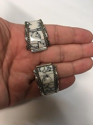 Native American Navajo White Buffalo Turquoise Large Watch Band Watch Tips  #7