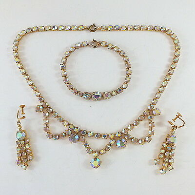 Fabulous Vintage AB Aurora Borealis Paste Glass Necklace, Bracelet, Earrings Set