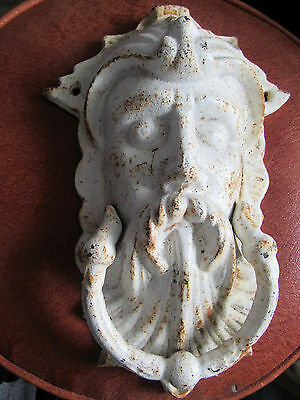Antique Cast Iron Door Knocker White King Neptune