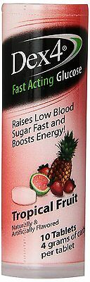 Dex4 Fast Acting Glucose Tropical Fruit 10 Tablets