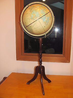 "Vintage Crams 12"" Imperial World Globe 3 Leg Cherry Wood Floor Stand 36"" Tall"