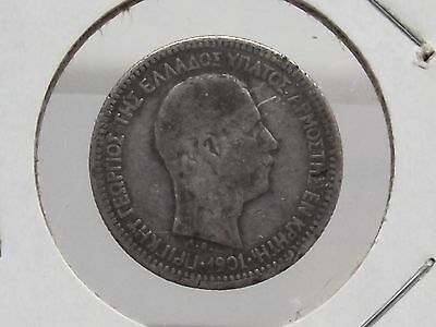 1901 Crete 50 Lepta Silver Coin Prince George Antique With Free Shipping