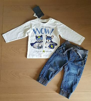 BNWT Baby boy clothes -jeans, long sleeve T-shirt- 9-12 months